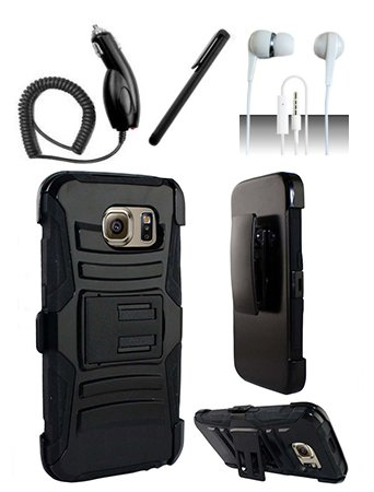 4 Items Combo For Samsung Galaxy S6 Black / Black Heavy Duty Armor Style Combat Hybrid Dual Layer Protective Case Cover with Built in Kickstand and Belt Clip Holster + Car Charger + Free Stylus Pen + Free 3.5mm Stereo Earphone Headsets (Lg Optimus L9 Tmobile Phone Cases)