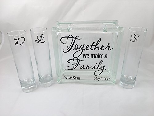 Personalized Blended Family Sand Unity Ceremony Set - Together We Make a Family - 3 pouring containers