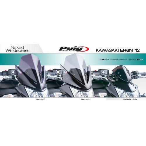 misura media colore: grigio fumo Puig 5997H Parabrezza per moto Kawasaki ER-6N modelli 2012-2014