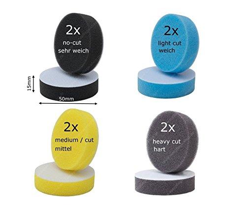 APS Pro 8X Polierschwä mme Polierpads in 4 Hä rtegraden Passend fü r Micropolierer Proxxon WPE, WPA, Rupes iBrid (8 Mini Pads Ø 30)