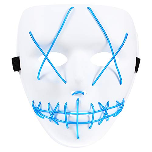 Light up Scary Mask Purge Halloween Themed LED Mask for Teenager Girl Boy Adult, EL Wire Cosplay Costume Mask - Blue -