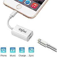 Difini iPhone 7 Adapter Splitter,Dual Lightning Headphone Audio&Charge Adapter,Support Sync Data+Listening to Music+Calling Converter ,Compatible for iPhone 7/7 Plus iOS 10.3(White)