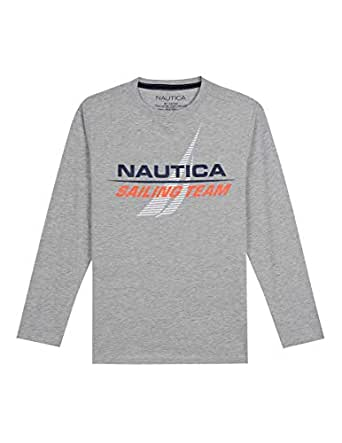 Nautica Toddler Boys' Long Sleeve Graphic T-Shirt, Cristiano Grey Heather, 2T