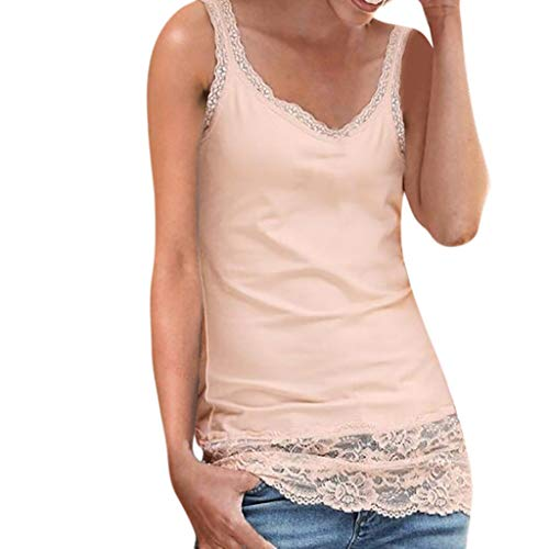 Sunhusing Ladies Lace Stitching Sleeveless Vest with Lace Trim Hem Embellished Beach Tank Top Shirt Pink