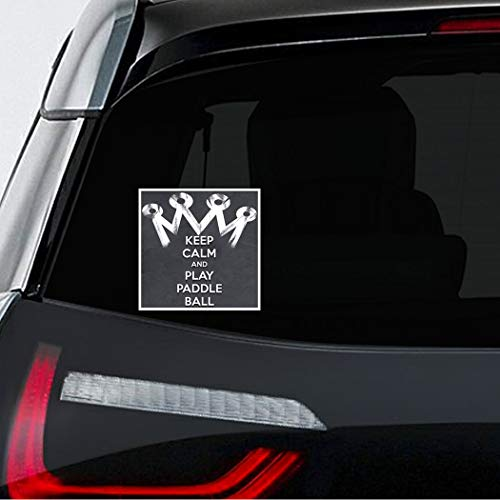 Makoroni - KEEP CALM AND PLAY PADDLE BALL Car Laptop Wall Sticker Decal - 4.5'by4.5'(Small) or 7'by7'(Large)