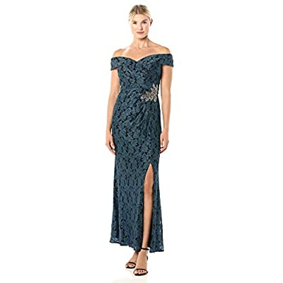 Alex Evenings Women's Lace Off The Shoulder Fit and Flare Dress: Clothing