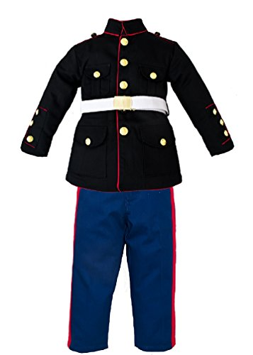 Marine Costume For Girls (Kids 3 Pc U.S. Marine Corps Dress Blues Uniform (Small)