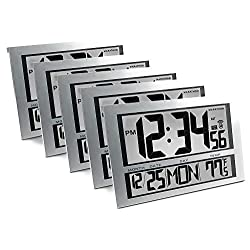 Marathon CL030025-5 Commercial Grade Jumbo Atomic Wall Clock with 6 Time Zones, Indoor Temperature & Date - 5 Pack