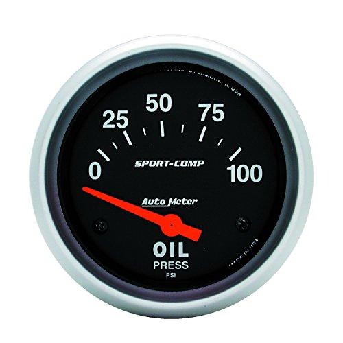 Auto Meter 3522 Sport-Comp Electric Oil Pressure (Carbon Fiber Auto Oil Pressure Gauge)