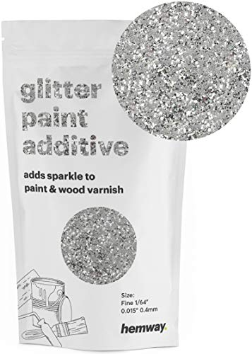 """Hemway Glitter Paint Additive FINE 1/64"""" 0.4mm Emulsion Water Based Paints Wall Ceiling 100g / 3.5oz (Silver)"""