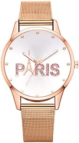 Ultramall BC102 Simpl Stylish Paris Alphabet Plate Without Digital Scale Ladies Quartz Watch