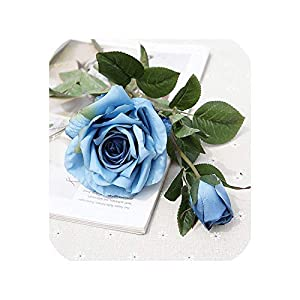 Simulation 2 Heads Rose Branch Artificial Flowers for Home Table Wedding Decoration Flores artificiales Silk Roses Fake Flower,Blue 87