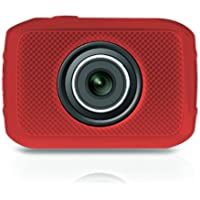 Pyle PSCHD30RD Mini High-Definition Sports Action Wide-Angle HD Camera & Camcorder, 720p, SD Card Slot, Touchscreen (Red)