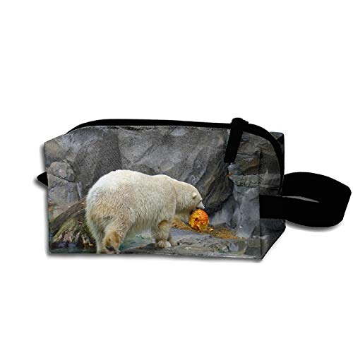 scakoko Halloween Polar Bear Makeup Pouch Portable Travel Cosmetic Bags Durable Waterproof Pencil Case -