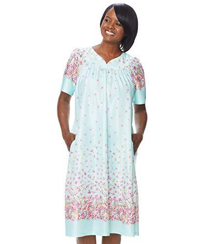 AmeriMark Lounger House Dress with Pockets for Women Muu Muu Nightgown Aqua Floral XL (Petite Dress Patio)