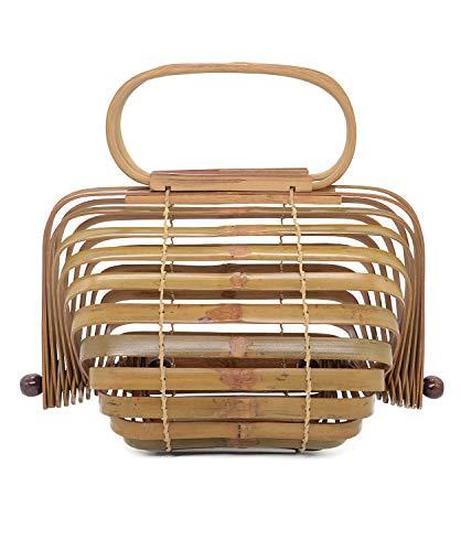 Miuco Women Bamboo Bag Handmade Basket Nest Large Bag Hollow Tote Lantern Beach Bag Brown Small