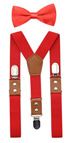 JAIFEI Suspender & Bowtie Set For Men, Teens & Boys | Long Elastic Band, Durable Plastic Teeth & High End PU Leather (Men(48 Inches), Red)
