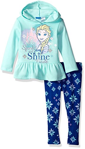 Disney Toddler Girls' Frozen 2-Piece Hooded Top and Legging Set, Blue, 4T (Kids Disney Clothes)