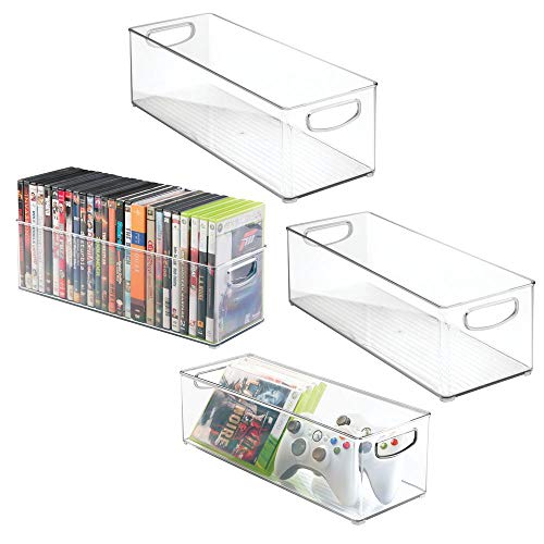 (mDesign Plastic Stackable Household Storage Organizer Container Bin with Handles - for Media Consoles, Closets, Cabinets - Holds DVD's, Video Games, Gaming Accessories, Head Sets - 4 Pack - Clear)