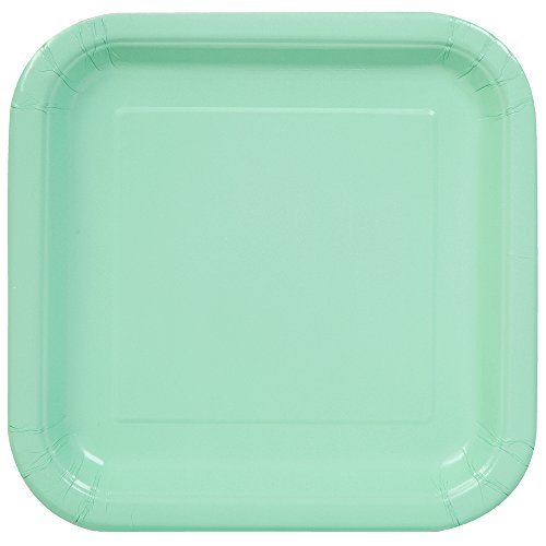 (Square Mint Paper Cake Plates, 16ct)
