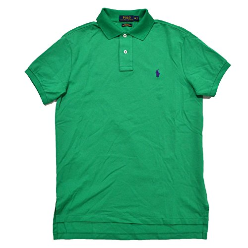 Polo Ralph Lauren Mens Custom Fit Pima Stretch Mesh Polo Shirt (Large, Green) (Rugby Mesh Cotton)