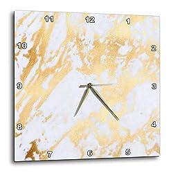 3dRose Uta Naumann Faux Glitter Pattern - Image of Chic Trendy White and Gold Marble Agate Gemstone Rock Quartz - 13x13 Wall Clock (DPP_315360_2)
