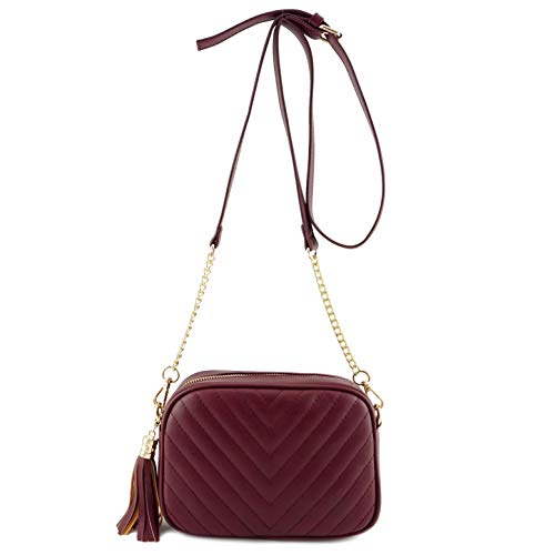 (Simple Shoulder Crossbody Bag With Metal Chain Strap And Tassel Top Zipper (Burgundy))