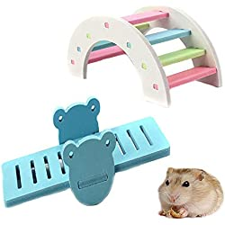 Kathson DIY hamster rainbow play Bridge Seesaw toy for Syrian/robo/Mouse/Djungarian /Dwarf Hamster Mic and Small Animal