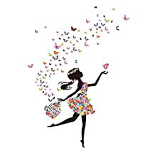 uxcell® DIY Dancing Butterfly Flower Girl Removable Wall Sticker Decal Mural Xmas Christmas Room Wallpaper Home Decor