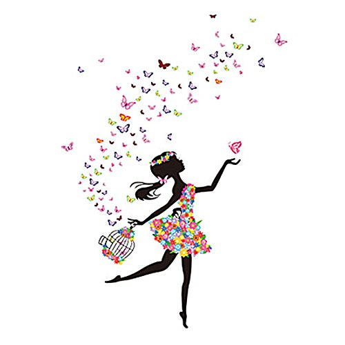 uxcell DIY Dancing Butterfly Flower Girl Removable Wall Sticker Decal Mural Xmas Christmas Room Wallpaper Home Decor (Girls Wallpaper Murals)