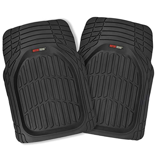 BDK 2 Front FlexTough Contour Liners - Deep Dish Heavy Duty Rubber Floor Mats for Car SUV Truck & Van - All Weather Protection - Odorless(Black)