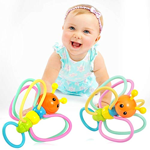 Babylian Grasping Rattles Teether, Silicone Bee Grasping Rattles with Infant Teether, Massaging Sore Teething Gums, Intelligence Rattles and Teething Toys for More Than 3 Months Old Baby.