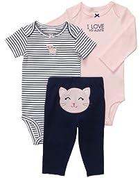 Carter\'s Baby Girls\' 3 Pc Turn Me Around Set - Pink/Navy Kitty - 9 Months