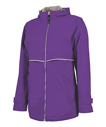 Charles River Apparel Women's New Englander Waterproof Rain Jacket, Violet, L