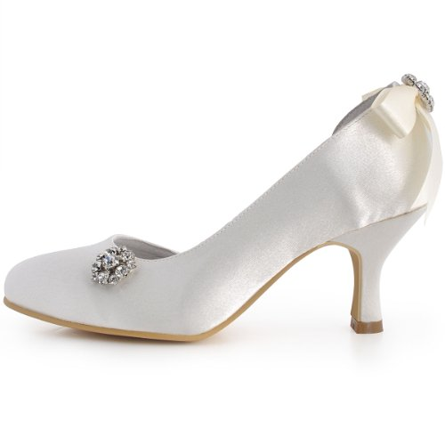 ElegantPark E0618 Mujer Pumps Punta Chiusa Rhinestone Nudos Spool D'orsay Tacon Saten boda Novia zapatos Ivoire