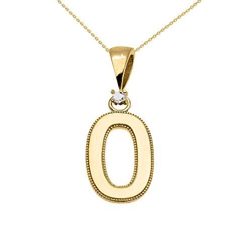 """Collier Femme Pendentif 10 Ct Or Jaune Poli Élevé Milgrain Solitaire Diamant """"O"""" Initiale (Livré avec une 45cm Chaîne)"""