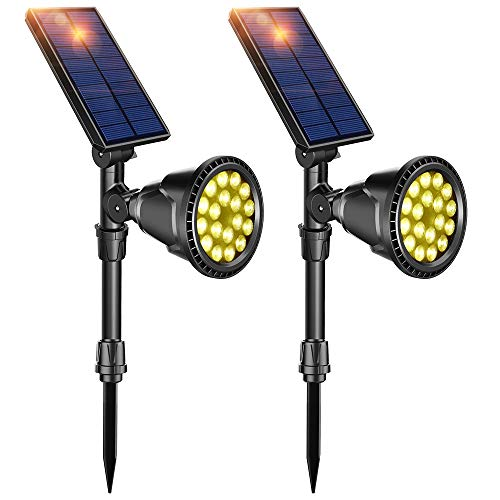 DBF Solar Lights Outdoor, Latest 18 LED Waterproof Solar Spotlights Solar Landscape Lights Auto On/Off Wall Light Landscape Lighting for Garden Yard Pathway Driveway Pool, Pack of 2 (Warm ()