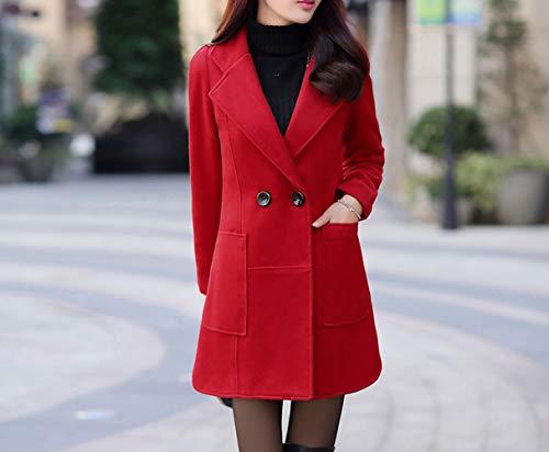 Hiver Revers Femmes Automne Femmes Manteau Ab D'hiver Chaud vent Rouge En Pour Et Coupe De Laine Dames Poche Veste Coton D'automne 'grand aqfOfPvw