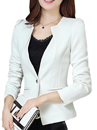 HTOOHTOOH Womens Casual Solid Long Sleeve One Button Blazer Jacket