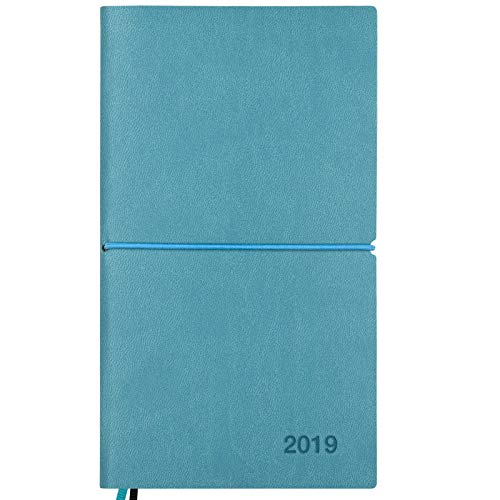 (2019 Planner/Pocket Calendar: 14 Months (Nov 2018 - Dec 2019) Weekly, Monthly Calendars, Leather Material, Elastic Closure, Decorative Stitching, Page Finder Ribbons and Notes Pages (Teal/Black))