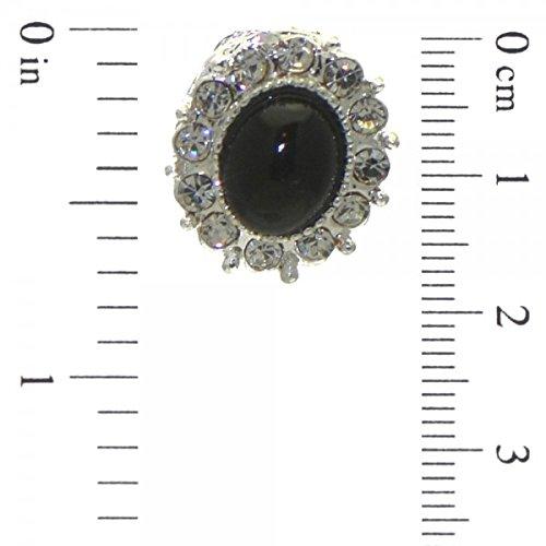 CALIXTE Clip de cristal noir argent boucles d'oreilles