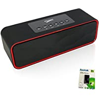 Portable Bluetooth Stereo Speaker, with 2x5W Acoustic Drivers, Dual Subwoofer, FM Radio, Handsfree Speakerphone, Micro SD Card, USB and AUX-In Slots for Smart Phone, MP3, MP4, iPad, Tablet and More