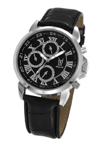 Konigswerk Mens Black Leather Watch Roman Numerals Multifunction Day Date Display AQ202575G