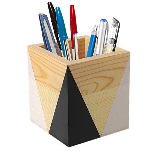 Pencils Black Wood (MyGift Modern Square Wood Black & White Pencil Holder)