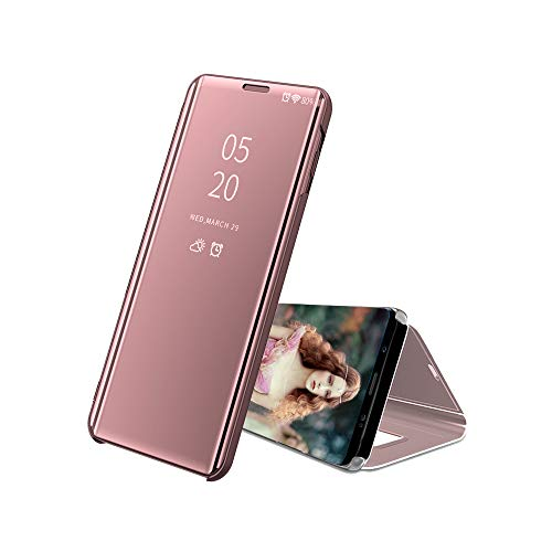 A920 Cell Phone Accessory - A9 Star Pro Mirror Cases,IVY Galaxy A9s Smart Flip Cover with Kickstand for Samsung A9 SM-A920 2018 - Rose Gold