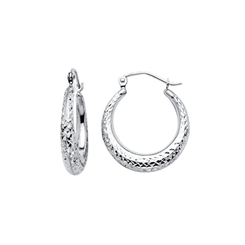14K White Gold 4mm Diamond Cut Hoop Earrings by Top Gold & Diamond Jewelry