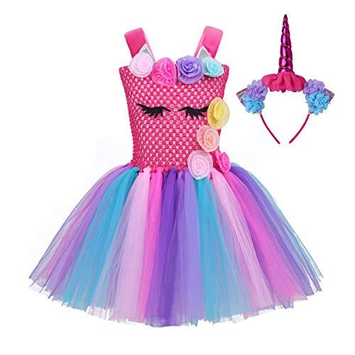 Agoky Kids Girls Halloween Cartoon Cosplay Costumes Rainbow Tutu Dress with Headband Rose Red 10-12 ()