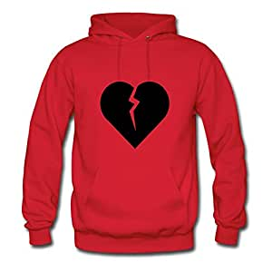 X-large Long-sleeve Red Hoody For Women Cotton Vogue Broken_heart