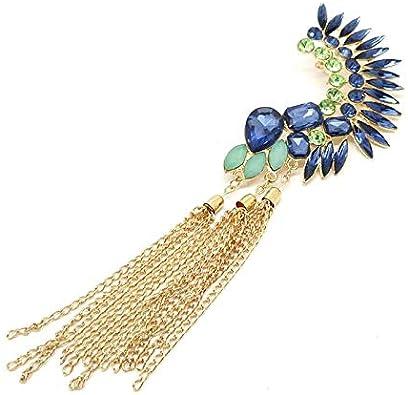 Cristal Boucles d/'Oreilles en Faux Diamant Bijoux de Mariée Longues Pompon Mode