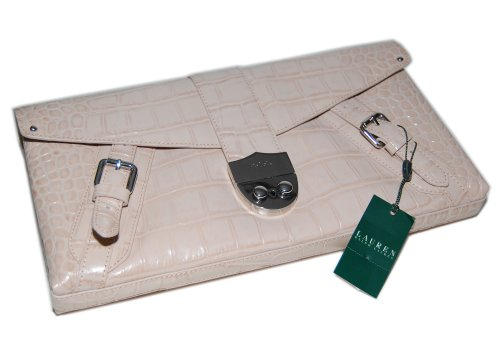 Ralph Lauren Womens Alligator Croc Leather Clutch Handbag Purse Bag Cream Oyster